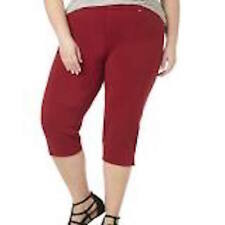NEW Catherines 5X Comfort Fit Knit Jeans Capri Cropped Crop Brick Red
