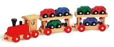 """Trenino di legno """"treno navetta"""" cm 49, con 6 macchinine e 4 omini - Legler 7006"""