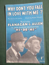 "FLANAGAN & ALLEN-"" WHY DON'T YOU FALL IN LOVE WITH ME""- SHEET MUSIC FOR THE SONG"