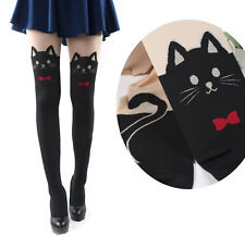 Cute Bowtie Cat Kitten Knitted Thigh-High Black Socks Pantyhose Stockings Tights