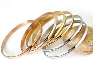 6pcs/set Silver/Gold/Rose Gold stainless steel Smooth Cuff Bangle Bracelet 2.67'