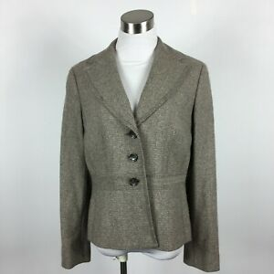 Ann Taylor 8 Blazer Jacket Taupe Tweed 3 Button Lined Career