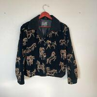 Vintage Tsunami Size L Large Black Fleece Horse Print Button Up Coat Women's