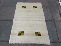 Old Traditional Hand Made Persian Oriental Wool White Cream Gabbeh Rug 142x97cm