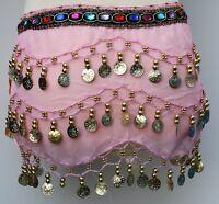 Girls Kids 3 Rows Coin Belt Belly Dance Costume Hip Scarf Skirt Dancing Wrap