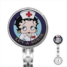 Reloj De Bolsillo Reloj de enfermera Betty Boop De Acero Inoxidable Reloj Fob Enfermeras 2
