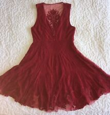 Free People Red Lace Sleeveless Dress Sz 4 Deep V Neck W/ Clasps & Side Zip EUC