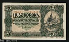 HUNGARY 20 KORONA 1920 BANKNOTE P#61 serial number with dot UNGARN MAGYAR UNC