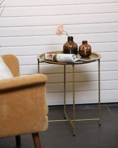 Metal Round Foldable Butlers Tray Top Side Table Living Room Lounge Decor Gold