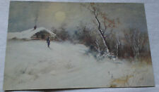 Seasonal Postcard Winter Snowy Country Cabin VTG