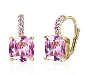 18k Gold Plated Pink Crystal Mouse Children's Toddler Girls Screw Back Earrings