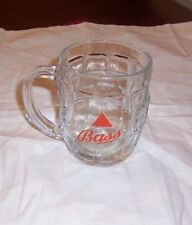 VINTAGE BASS BEER MUG 8 OZ. BEVELED WINDOW PANEL GLASS DESIGN  BY CROWN,ENGLAND