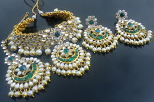 GREEN KUNDAN CZ PEARL GOLD TONE CHOKER NECKLACE SET BOLLYWOOD PARTY WEAR JEWELRY