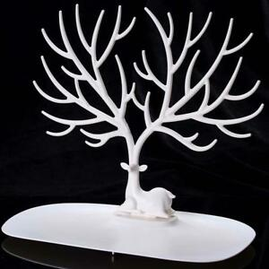 WHITE Display Jewelry Tree Stand Holder Rack Show Earring Necklace Ring Retro UK