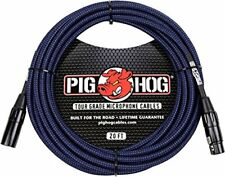 Pig Hog PHM20BBL High Performance Black & Blue Woven XLR Microphone Cable, 20 ft