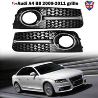 2x Grille Front Bumper Fog Light Cover Trim Mesh Grill For Audi A4 B8 8K 09-11