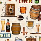 On Tap Beer Fabric 100% Quilters Cotton Beer Keg Bar Pub Men Mancave Fabric