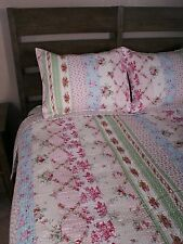 Twin Quilt Set Pink Roses Eliza Shabby Chic Beach Cottage Cotton