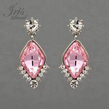 Pink Crystal Rhinestone Wedding Bridesmaids Drop Dangle Earrings in Silver 01396