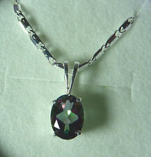 1.54CT Mystic Fire Topaz 925 Sterling Silver Solitaire Necklace/Pendant