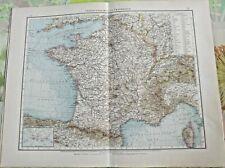 Old map Weltkarte Übersichtskarte von Frankreich Paris Lyon Marseille Corsica
