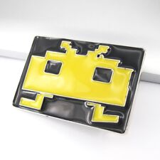Black Yellow Vintage Classic Arcade Video Games Space Invaders Mens Belt Buckle