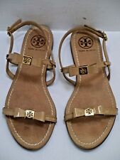 TORY BURCH Kailey light nude patent leather bow gold logo sandals size 8