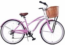 "LIFESTYLE LADIES BICYCLE USA 19"" BEACH CRUISER CALIFORNIA STYLE WITH BASKET NEW"