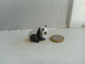 PANDA - POTTERY -  BEAUTIFUL PANDA -  DETAILED & CUTE MINIATURE SITTING PANDA