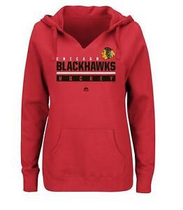NHL Majestic Chicago Blackhawks Women's Hand Pass Split Neck Hoodie Jacket