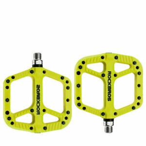 "ROCKBROS MTB Road Bike Nylon Pedals Lightweight Widen 9/16"" DU Bearing Pedals"