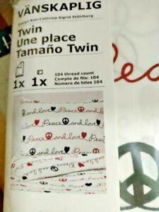 IKEA VANSKAPLIG TWIN DUVET SET PEACE LOVE WHITE RED BLACK HIPPIE KIDS NEW FREESH
