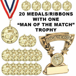 20 x Metal Gold Football Medals/Ribbons/MAN OF THE MATCH Trophy *FREE ENGRAVING*