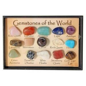Set of 15 Healing Crystal Natural Gemstone Reiki Chakra Collection Stone Kit UK