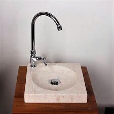 WOHNFREUDEN Marmor Aufsatz-Waschbecken TUMBA 30 cm creme eckig Bad Gäste WC