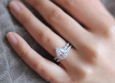 2ct pear cut diamond halo bridal set engagement ring band 14k white gold over