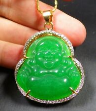 Gold Plate Green JADE Pendant Buddha God Necklace Diamond Imitation 100096
