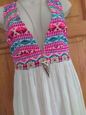 Primark Discontinued Embroidered Boho Plunge Sun Dress M UK 12 festival beach