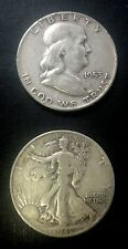 $2.00 Face 90% Silver Franklin Walking Liberty Half Dollars Halves Circulated