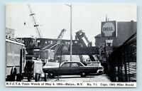 Brooklyn, NEW YORK - 1965 TRAIN WRECK DISASTER POSTCARD - STREET SCENE NY AVE S2