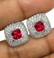 Ruby & White Topaz 925 Solid Sterling Silver Earrings Jewelry, W-27