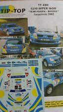 DÉCALS 1/32 réf 450 Renault Clio 1600 Jean-Joseph Auxerrois 2002