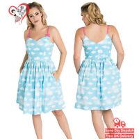 Hell Bunny Sky Blue Daydream Clouds Mid Rockabilly 50s Summer Vintage Mini Dress