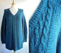 M&S Kingfisher Teal Green Long Jumper Tunic Wool Mohair Blend Size 12