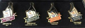 LINDEMANS COMMEMORATIVE COLLECTABLE PIN SET- 4 GOLD WINE PINS COLOURED AND CASED