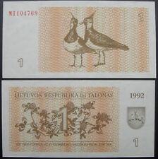 Lithuania Paper Money 1 Talonas 1992 UNC