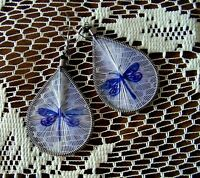 EXQUISITE DRAGONFLY THREAD EARRINGS - 3.25 In High x 1.5 Inches Wide