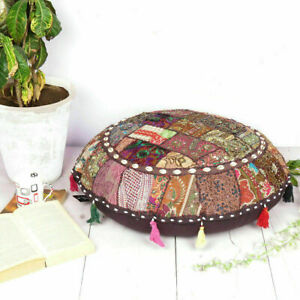 """ROUND 32"""" EMBROIDERED FLOOR CUSHION BEADS WORK COTTON DORM DECOR BOHO POUF COVER"""