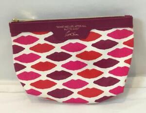 Esteé Lauder Zippered Canvas Fabric Cosmetic Bag with Kendra Dandy Lip Design