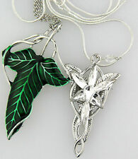 1 Set LOTR Lord Of The Rings Elven Leaf Brooch Wizard Crystal Pendant Necklace